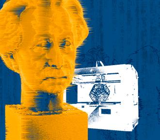 Imagem da cabeça de Einstein impressa em 3D, ao seu lado a imagem de uma impressora 3D, o fundo é abstrato, sendo traços representando os desenhos pré impressão . A imagem representa a impressão 3D assunto em pauta.