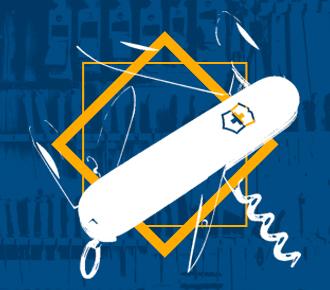 Imagem de um canivete suíço aberto com um losango amarelo ao seu redor, ao fundo uma imagem com vários canivetes. Representa as múltiplas ferramentas que são abordadas no texto.