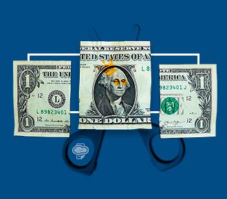 Imagem de uma nota de um dólar cortada em três partes, atrás da parte do meio está a tesoura. A imagem representa a economia colaborativa.