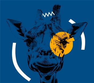 Imagem de uma girafa sendo que sua cabeça está entre parênteses, e há entre as suas orelhas um tracejado em ziguezague, em seu olho direito há um círculo em amarelo. A imagem representa a curiosidade em saber o que significa o termo outsourcing de impressão.