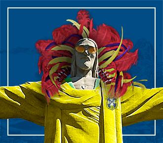 Imagem do Cristo Redentor vestindo a camiseta da seleção Brasileira de futebol, em sua cabeça um adereço com penas característico do carnaval, em seu ombro esquerdo tem um papagaio e, em sua mão direita um copo de caipirinha, ao fundo a imagem da lagoa Rodrigo de Freitas e do Pão de Açúcar. A imagem representa o jeitinho brasileiro por meio de elementos típicos da cultura local.