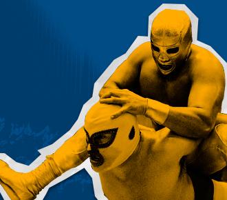 Imagem de lutadores mascarados brigando, estilo lutadores mexicanos de lua livres, o fundo é azul neutro. A imagem representa a briga a qual se deseja parar que é a por CPP (custo por página).