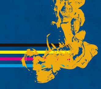 Ilustração em linhas retas das cores preta, amarela, cor de rosa e azul, as quais são encontradas em alguns suprimentos das impressoras. A ilustração representa os toners e cartuchos originais e remanufaturados.