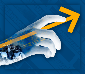Imagem de uma mão com uma seta, mostrando sentido da frente, avançar. Representa a liderança que um software de gestão pode ajudar a empresa a ter.