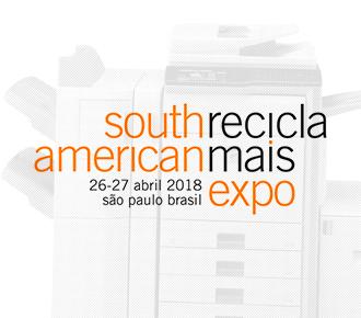 Imagem dividida em duas partes, uma com uma multidão caminhando, a outra com uma impressora. Relaciona ao evento Reciclamais South American Expo 2018.