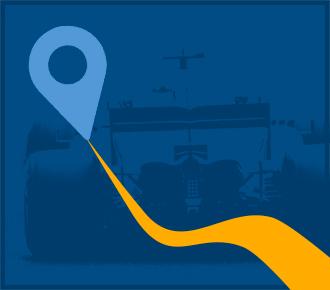Imagem de uma impressora com um caminho e símbolo de localização ao fundo um carro de corrida. Representa o percurso que o MPS deve percorrer.