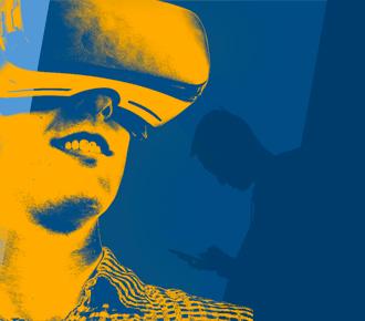 Imagem de um garoto com um óculos de realidade virtual. Ilustra o futuro do profissional de TI.
