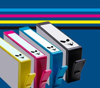 Imagem de cartuchos de impressoras e linhas coloridas, representam os suprimentos do outsourcing de impressão.
