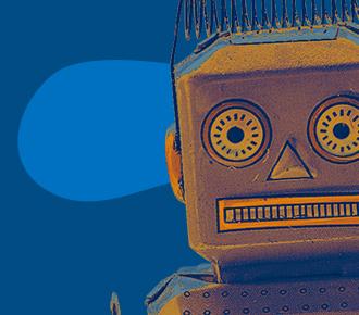 Imagem de um robô, ilustra a inovação e as novas tecnologias.