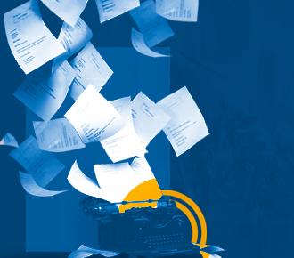Imagem de uma máquina de escrever e algumas folhas de papel A4 voanda espalhadas. Representa a pauta abordada, o rendimento de páginas impressas por cartucho de tinta.