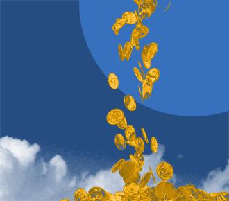 Imagem várias moedas de ouro caindo sob nuvens. Representa o quão valiosa é a pesquisa de satisfação com o cliente.