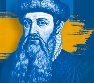 Fotografia de Johannes Gutenberg, ao fundo algumas letras da prensa móvel.