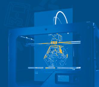 Ilustração de uma impressora 3D.