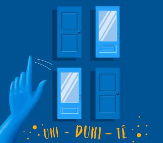 Ilustração de várias portas e uma mãos escolhando qual abrir. Demosbtra a desição do cliente na hora da compra.