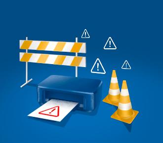 Ilustração de uma impressora, ao seu lado há cones de sinalização e barreiras, além de alguns sinais de alerta.
