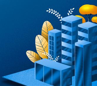 Ilustração de prédio de várias alturas entre eles folhas e árvores, fazendo uma brincadeira com a expressão selva de pedras. Representa as dicas rápidas de sobrevivência a nova economia e sociedade que serão repassadas.