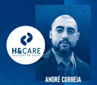 Fotografia de André Correia e logotipo da H&Care, empresa de outsourcing especialista em impressão na área da saúde.