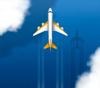 Ilustração de um avião voando entre nuvens.