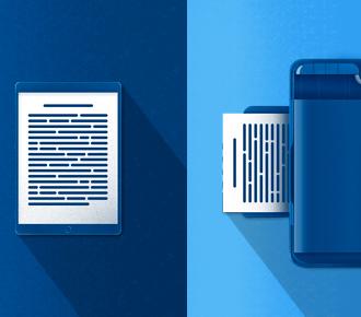 Ilustração de um tablet com um ebook sendo exibido e de um impressora imprimindo um texto. A ilustração representa o impresso e o digital, assunto da matéria.