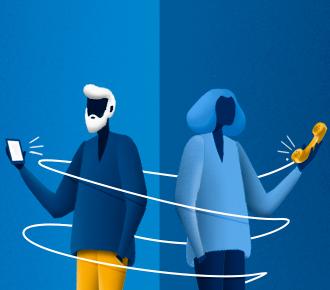 Ilustração de um homem com um celular na mão e de uma mulher com um telefone fixo na mão, o fio do telefone fixo enrola os dois. Representa as pessoas que estão envolvidas nos processos de compras no B2B.