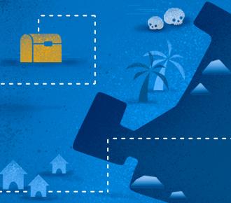 Ilustração de um mapa do tesouro. Ele representa o mapa do sucesso em Outsourcing de Impressão.