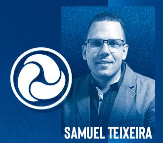 Fotografia de Samuel Teixeira e logotipo de sua empresa, a Global Laser, convite para acessar a conversa com especialista.