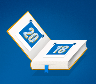 Ilustração de um álbum de fotografia, no lugar das fotos tem datas do calendário. Reresenta a retrospectiva do ano de 2018 da PrintWayy.