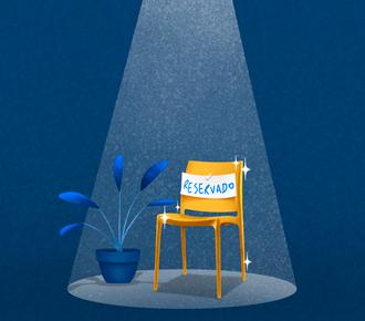 Ilustração de uma cadeira com foco de luz, ao lado da cadeira há um vaso de planta e na cadeira uma placa de reservado. Representa a dança das cadeiras na escolha do fornecedor.