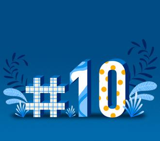 Ilustração de uma hashtag e do número 10, ao seu redor tem folhas e elementos decorativos. Representam as dez tendências em tecnologia que são apresentadas.
