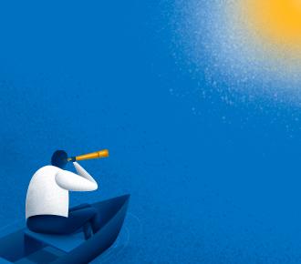 Ilustração de um homem em um barco de madeira em um lago, o homem observa por uma luneta. A ilustração representa a descoberta de quais são os indicadores chaves.