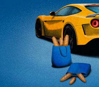 Ilustração de um carro de luxo esportivo amarelo e um saco de pão. A ilustração representa a história que é contada sobre um cliente.