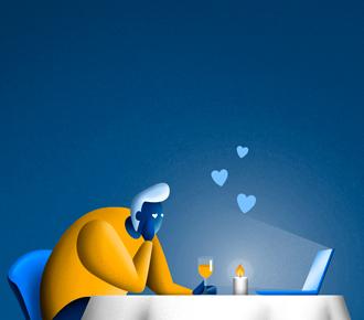 Ilustração de um homem em um encontro à luz de velas, mas o seu par é um notebook. A ilustração representa a busca por um software.