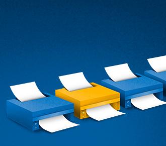 Ilustração de impressoras imprimindo. Elas representam o parque de impressão homogeneizado.