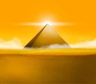 Ilustração de uma pirâmide no deserto. A ilustração representa os elementos de valor do B2B que são apresentados em forma de pirâmide