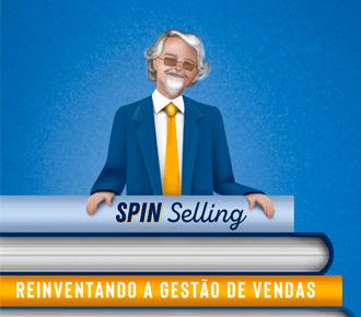 Ilustração de Neil Rackham, criador da metodologia SPIN Selling, atrás de livros.. A ilustração representa metodologia SPIN Selling, a qual é abordada na publicação.