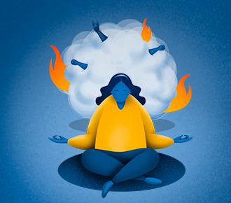 Ilustração de uma mulher em posição de lótus meditando, atrás dela uma bola de poeira com labaredas de fogo e braços com punhos cerrados. A ilustração representa os problemas, as exigências e as pessoas.