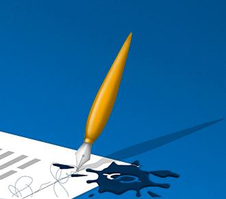 Ilustração de uma caneta tinteiro no canto direito de um contrato de locação. A ilustração representa o contrato de locação de impressoras.