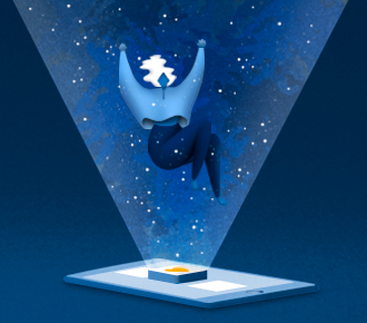 Ilustração de um celular com um aplicativo em alto relevo, esta ilumina e projeta a imagem de uma menina que flutua. A ilustração representa as ferramentas online, assunto em pauta.