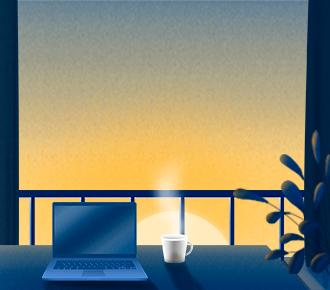 Ilustração de um home office, sendo uma sacada de apartamento aperta com cortinas, uma mesa com notebook e xícara de café, há uma planta na lateral direita. A ilustração representa o home office, tema central da matéria.