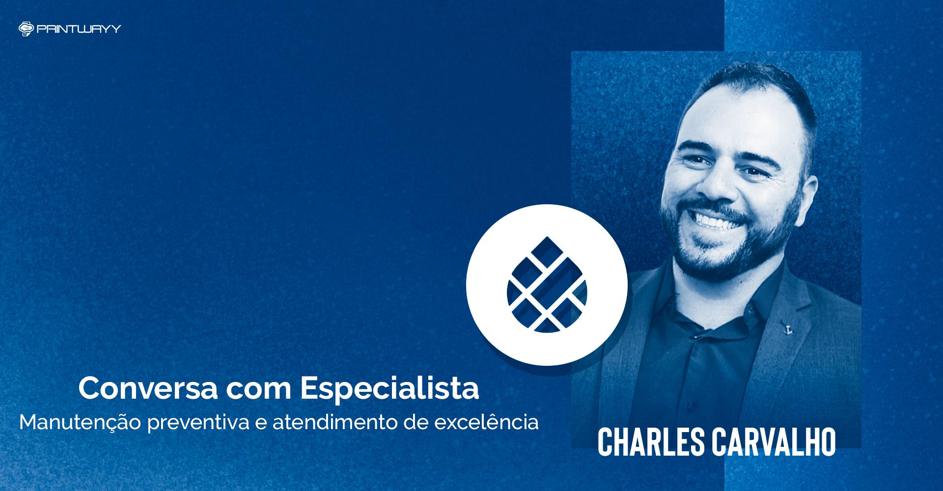Fotografia de Charles Carvalho e logotipo da empresa que ele fundou, a Imprimmer. A imagem ilustra a conversa com especialista em outsourcing de impressão