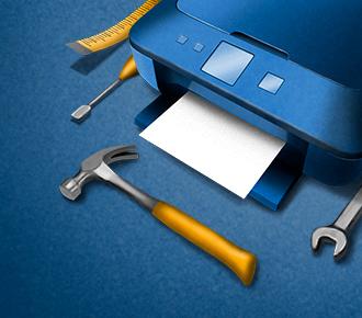 Ilustração de uma impressora sendo que ao seu lado esquerdo está uma fita métrica e uma chave de fenda, à frente um martelo e ao lado direito uma chave de boca. A ilustração representa a manutenção preventiva em impressoras.