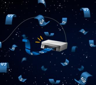 Ilustração de um uma impressora no espaço que imprime dinheiro, o dinheiro flutua, um astronauta observa. A ilustração representa a planilha de custo total de propriedade que é apresentada.
