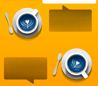Ilustração de duas xícaras de chá com pires e colheres ao lado, o vapor da água quente forma um coração em cada xícara. A ilustração representa a afetividade que deve haver na comunicação