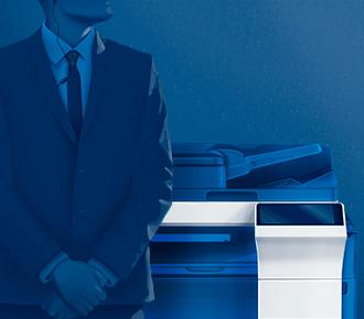 Ilustração de dois homens cada um ao lado de uma impressora multifuncional. A ilustração representa a segurança em impressão.