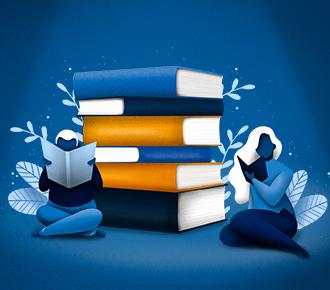 Ilustração de um meninos e uma menina sentados ao chão lendo livros, atrás deles há uma pilha de livros gigantesca. A ilustração representa o mistério que a PrintWayy está revelando.