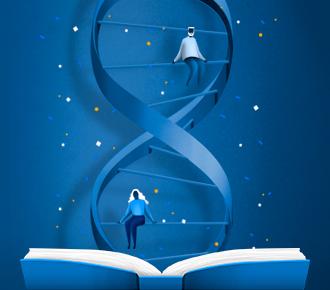 Ilustração de um livro aberto da onde sai uma cadeia de DNA que possui uma menina e um menino sentados em uma de suas linhas, atrás da cadeia de DNA há pontos brancos, amarelos e azuis. A ilustração representa o DNA da PrintWayy.
