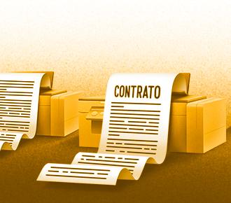 Ilustração de várias impressoras imprimindo contratos de locação de impressoras.