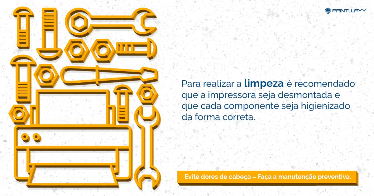 Desenho de ferramentas e de uma impressora simbolizando a manutenção preventiva.