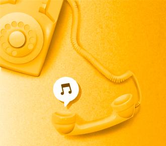 Ilustração de um aparelho fixo de telefone, estilo retrô.