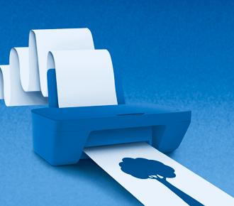 Ilustração de uma impressora imprimindo em um papel infinido, representa o demarketing.